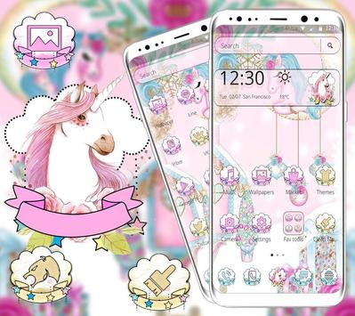 Pink Cute Lovely Unicorn Theme poster