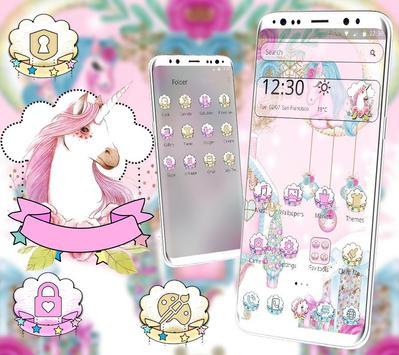 Pink Cute Lovely Unicorn Theme screenshot 1