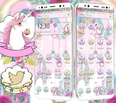 Pink Cute Lovely Unicorn Theme screenshot 2