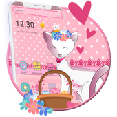 Pink Adorable Cat Theme icon