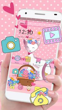 Pink Adorable Cat Theme poster