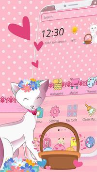 Pink Adorable Cat Theme screenshot 1