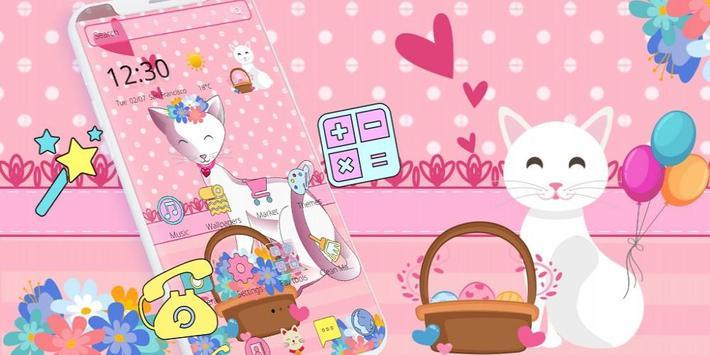 Pink Adorable Cat Theme screenshot 3