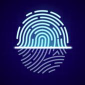 Icona Blocco App Con Impronta Digitale E Password