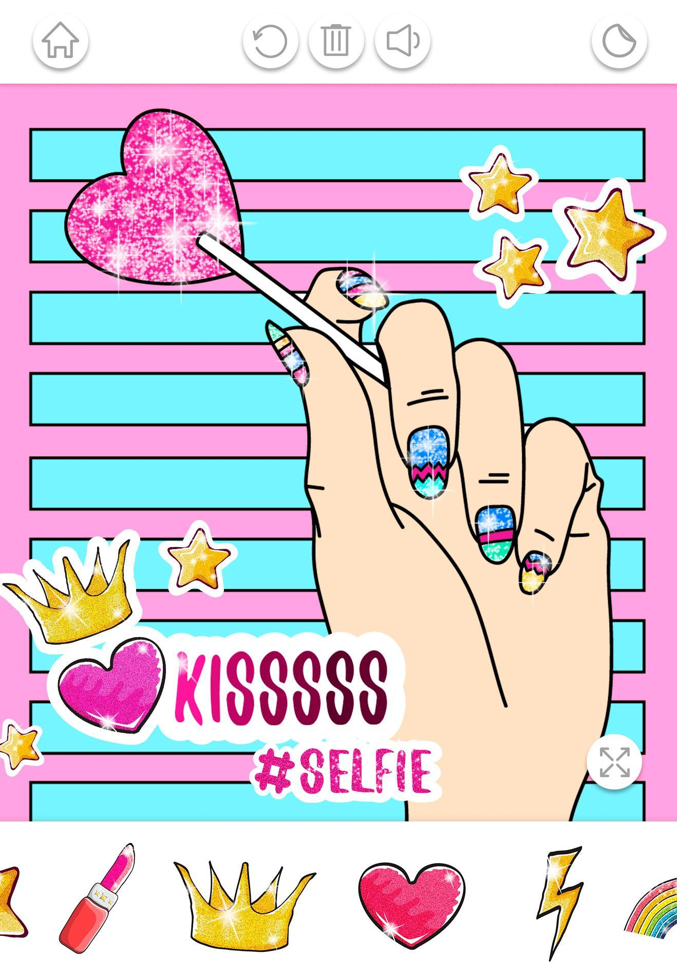Nail Art Color – Glitter Girls Coloring Book für Android - APK ...