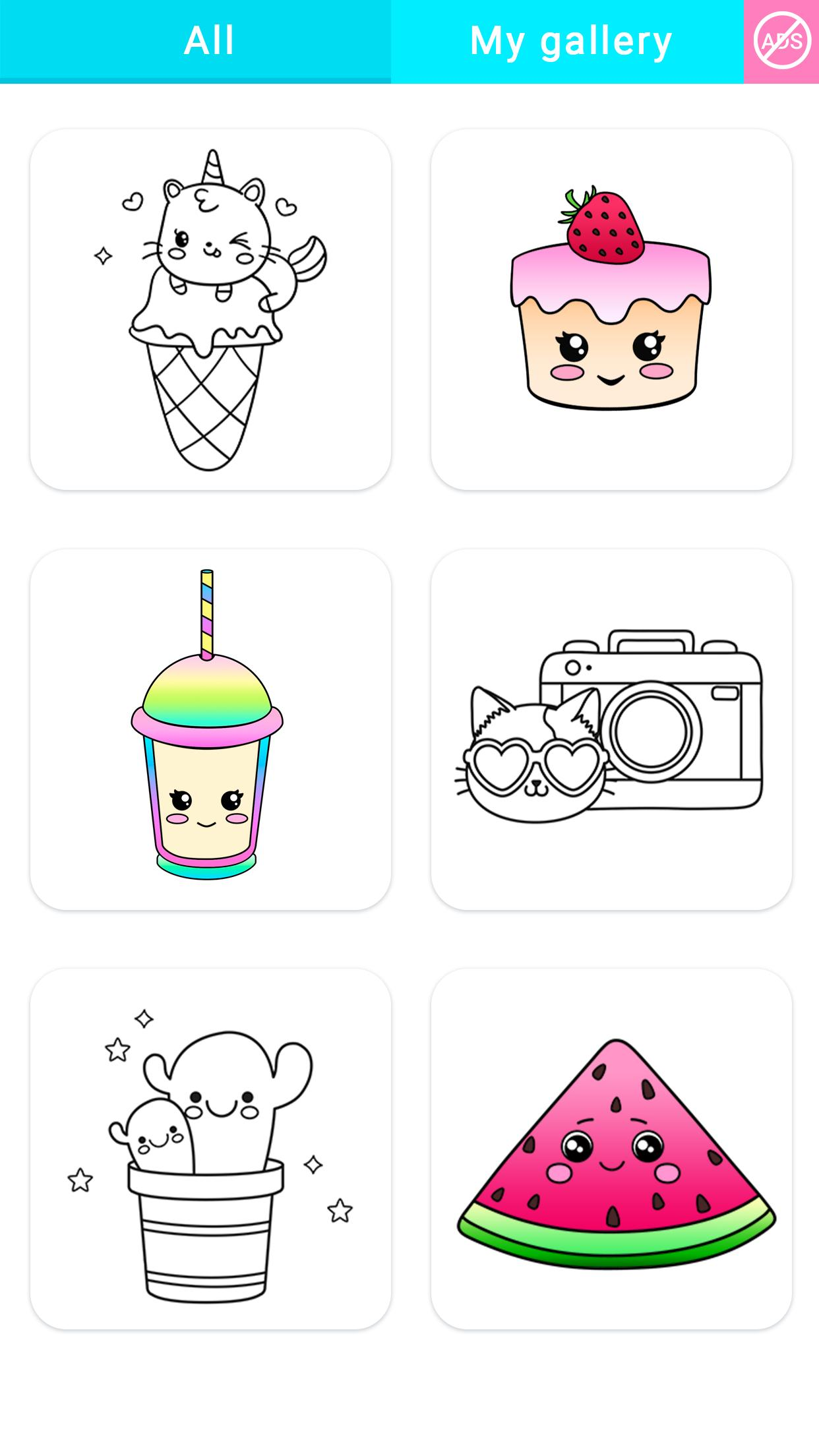 Gradient Kawaii Coloring Book For Android Apk Download
