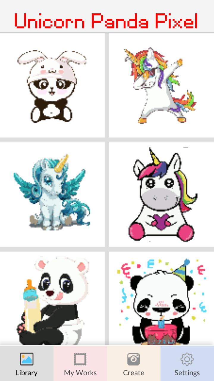 Unicorn Panda Pixel Art Number Coloring Books For Android