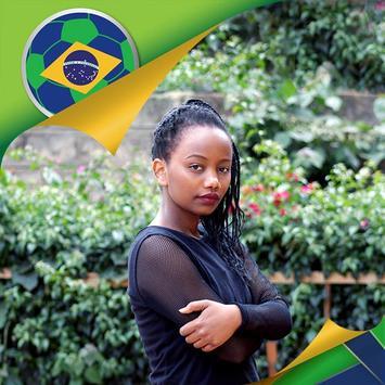 Brazil Flag Football World Cup Photo Frames poster