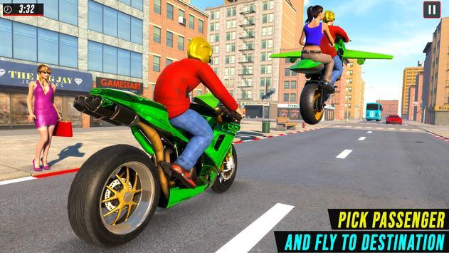 Real Flying Bike Taxi Simulator: Bike Driving Game imagem de tela 2