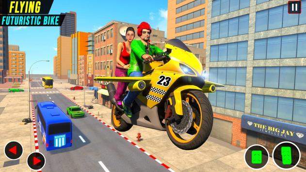 Real Flying Bike Taxi Simulator: Bike Driving Game imagem de tela 5