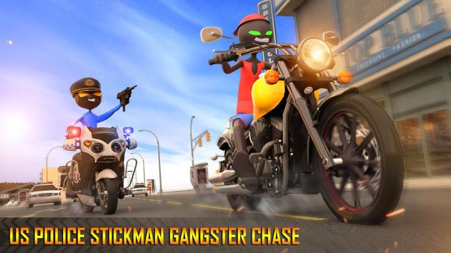 Police Stickman Moto Bike Gangster Chase poster