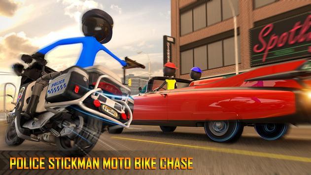 Police Stickman Moto Bike Gangster Chase screenshot 1