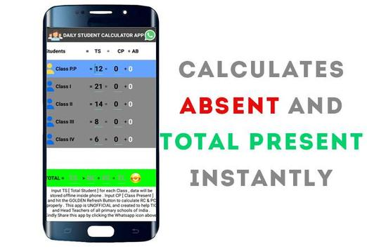Daily Student Attendance Calculator for Primary for Android