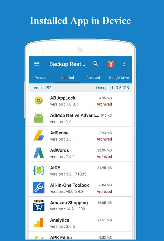 Backup and Restore - App, Contacts, Sms , Calllogs for Android - APK