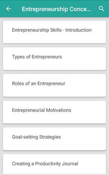 Entrepreneurship Skills Mindset and Concepts poster