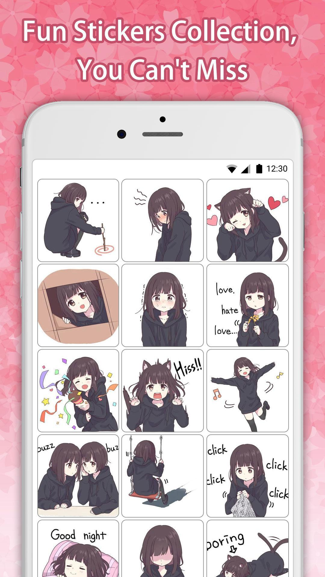 Cute Anime Girl 8 - Sticker Packs For WhatsApp for Android - APK