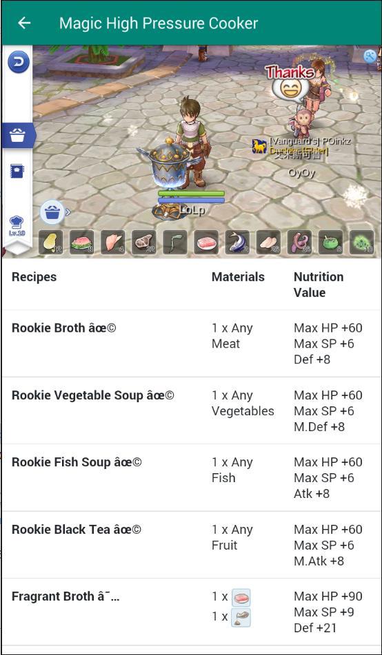 Cooking recipe ragnarok mobile