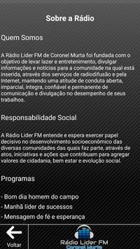 Rádio Líder Coronel Murta screenshot 2