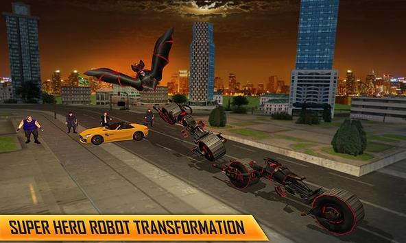Flying Superhero Robot Transform Bike City Rescue screenshot 1