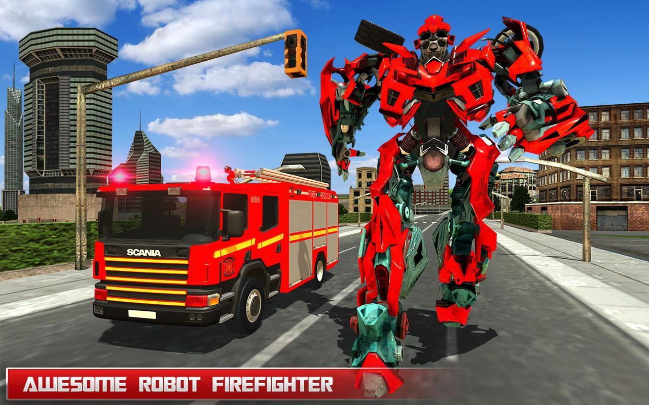 Fire Truck Real Robot Transformation: Robot Wars for Android
