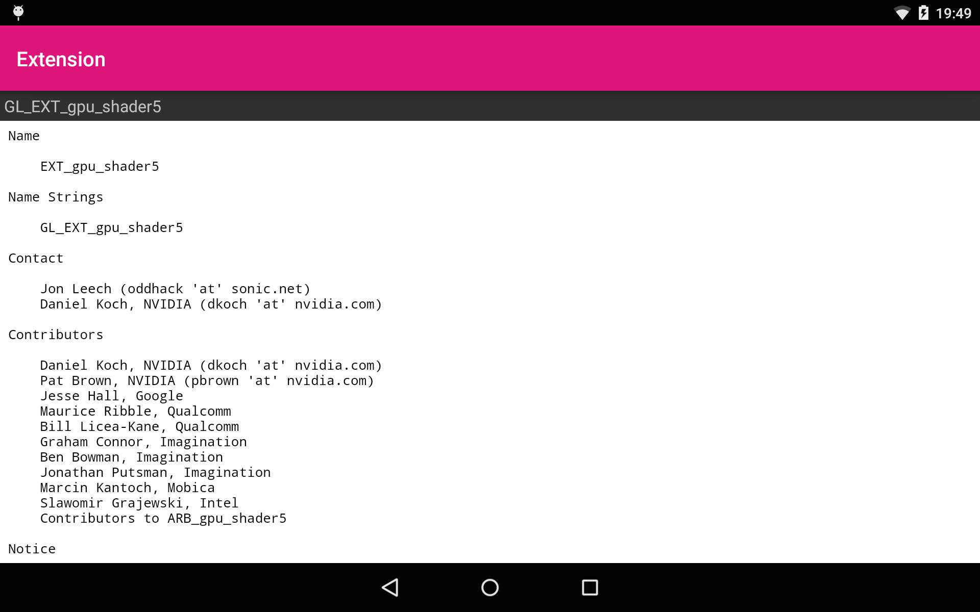 OpenGL ES Extensions - The OpenGL/Vulkan Utility for Android