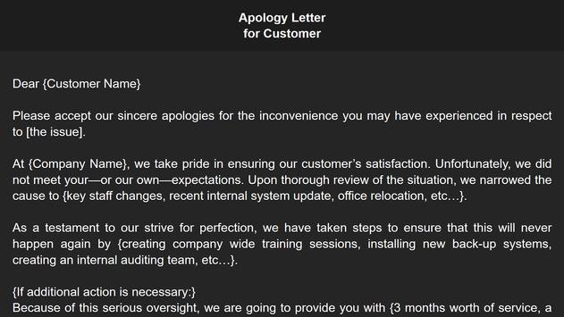 Apology Letter screenshot 7