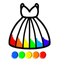 Glitter Dress Coloring and Drawing for Kids