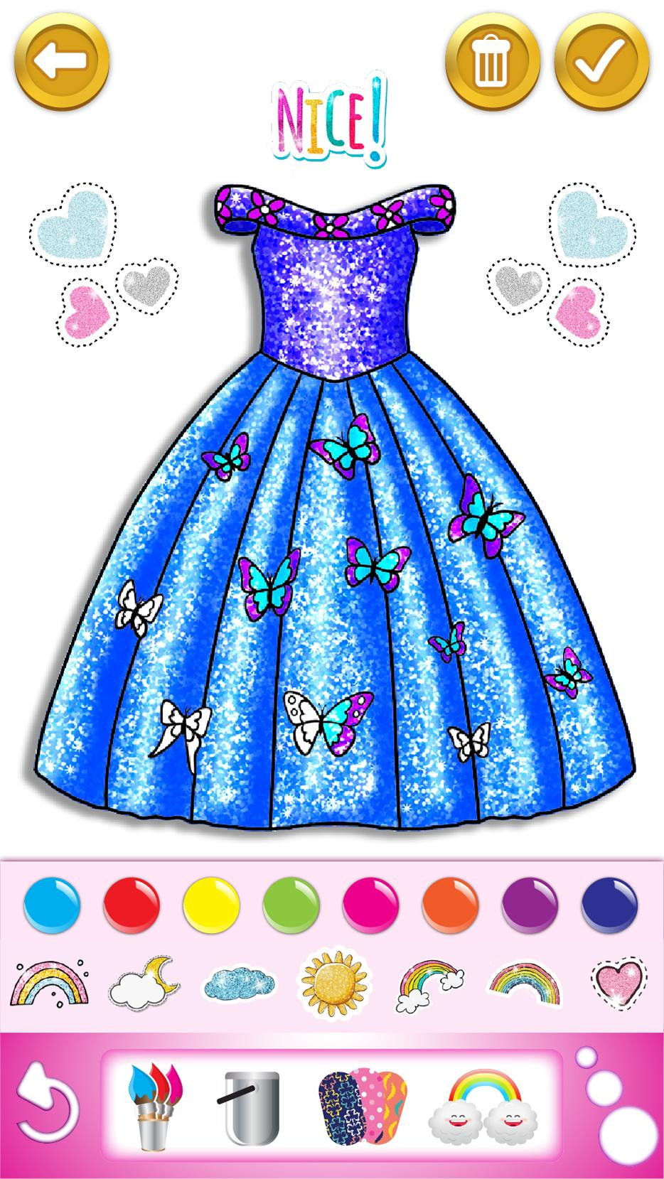 Glitter Dress Coloring And Drawing Book For Kids For Android Apk Download