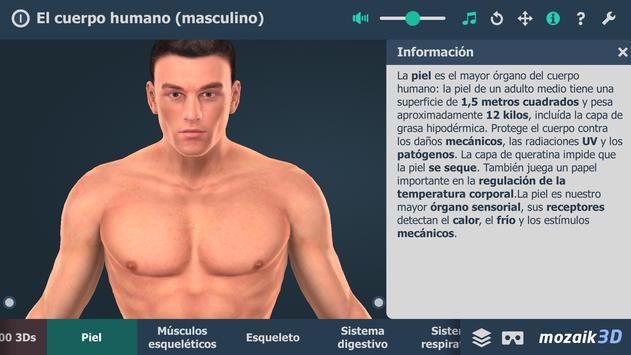 El cuerpo humano (masculino) en 3D educativo captura de pantalla 1