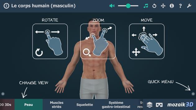 Le corps humain (masculin), 3D éducative, VR Affiche