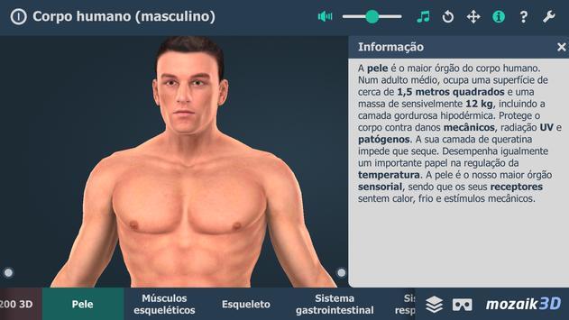 Corpo humano (masculino) 3D educacional RV imagem de tela 1