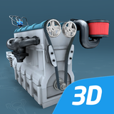 Four-stroke Otto engine educational VR 3D
