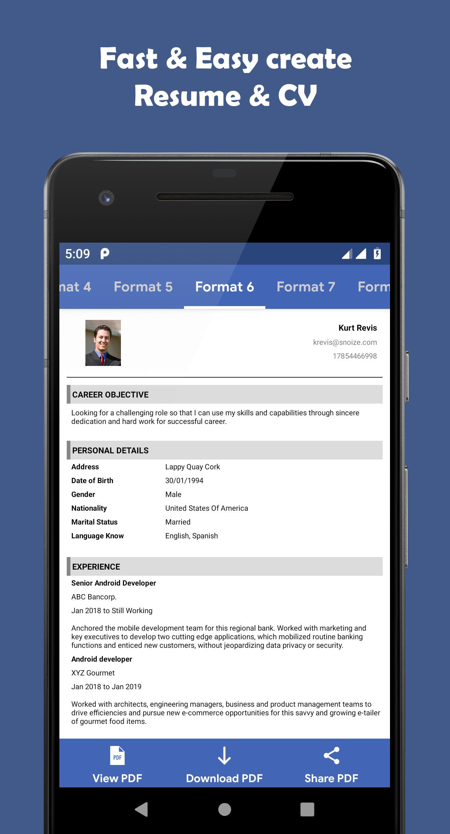 Resume Pdf Maker Cv Maker For Android Apk Download