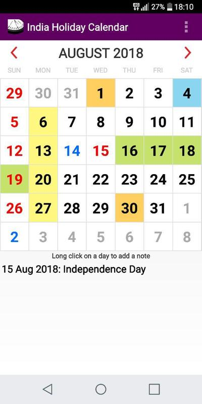 2019 India National State Ut Holidays Calendar For Android Apk