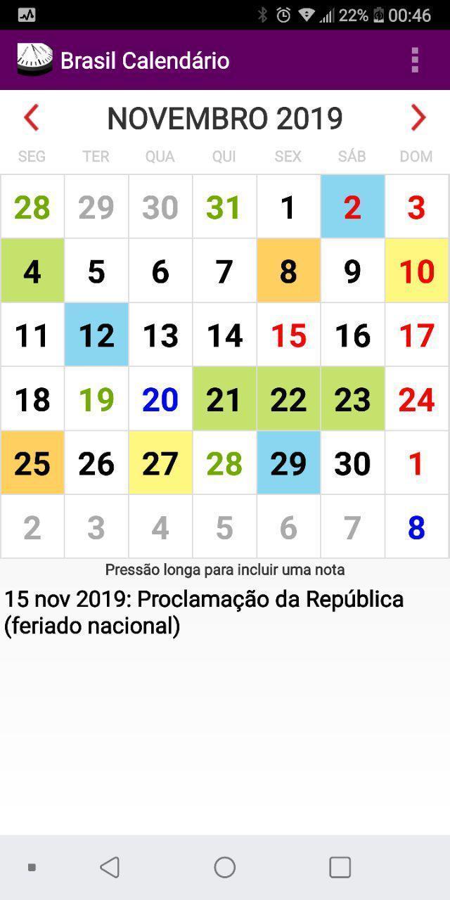 Calendario 2020 Brasileiro Com Feriados.Brasil Calendario Para Android Apk Baixar