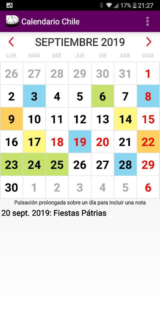 Calendario Chile 2019 Feriados.Calendario Laboral Con Festivos 2019 Chile For Android Apk