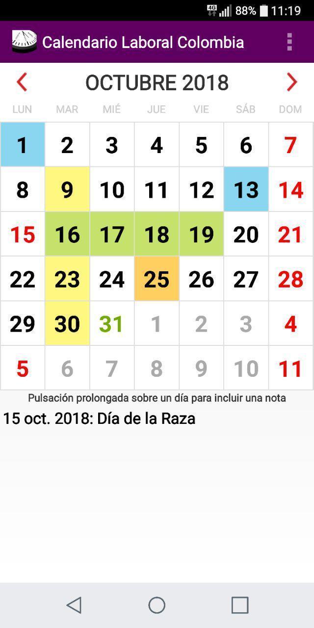 Calendario Colombia 2019 Octubre.Calendario Laboral Feriados Colombia 2019 For Android Apk