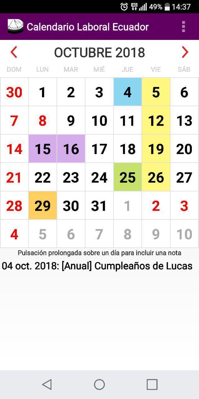 Calendario 2020 Portugues Com Feriados.Calendario Feriados Y Otros Eventos 2020 Ecuador For Android