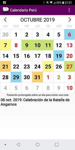 Calendario De Octubre 2019 Peru.Calendario Laboral Feriados Y Eventos 2019 Peru For Android