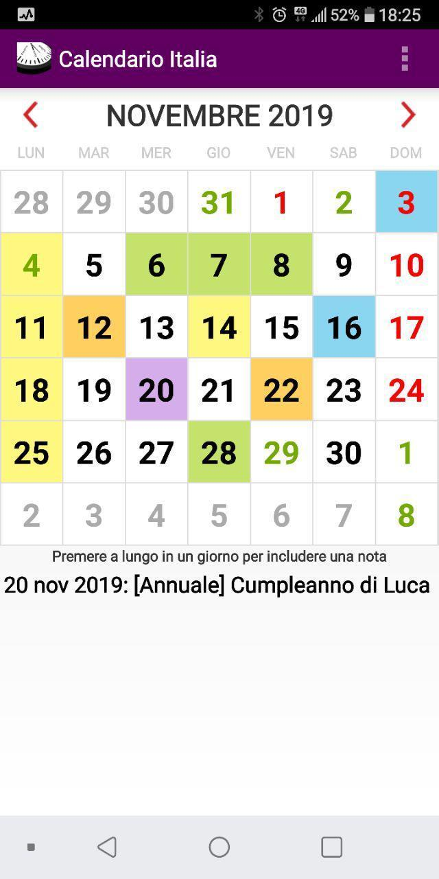 Calendario Anno 2019 Con Festivita.Calendario Con Giorni Festivi 2020 In Italia For Android