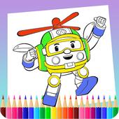 Robot coloring book icon