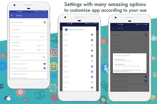 All Social Media apps in one app - Social networks screenshot 6