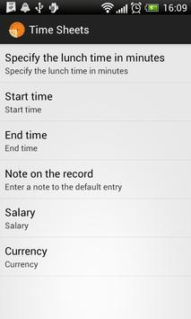 Time sheets screenshot 1