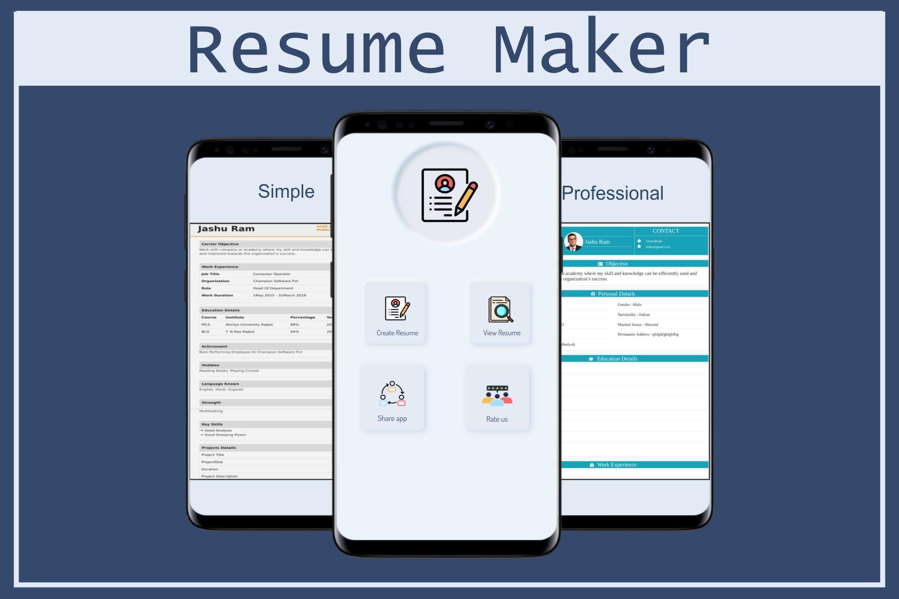Resume Builder App Free Cv Maker App Freshers Pdf For Android Apk Download