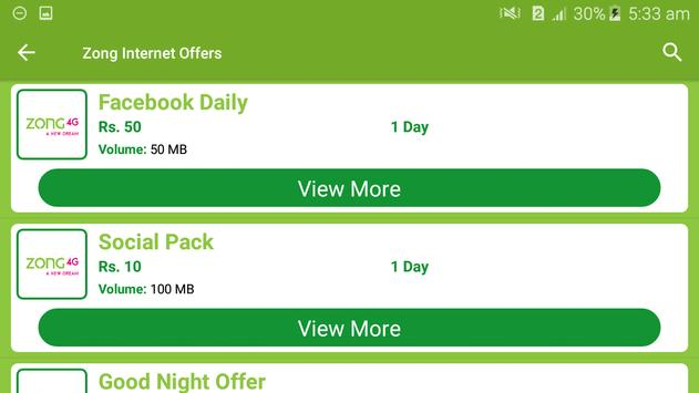 All Zong Network Packages 2019 screenshot 6