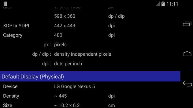 Screen Size / DPI and Dev Info screenshot 1
