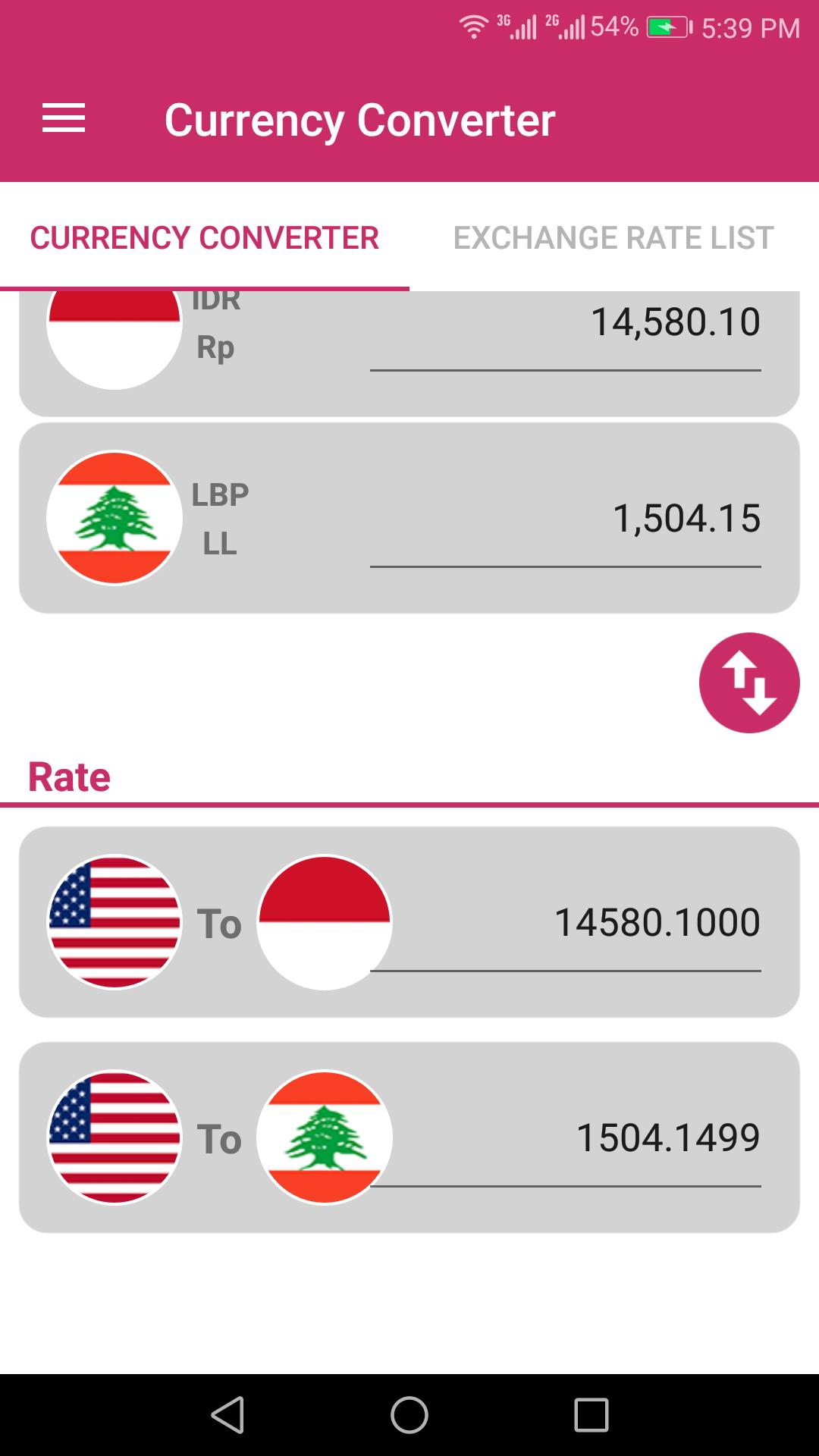 US Dollar To Indonesian Rupiah and LBP Converter for Android