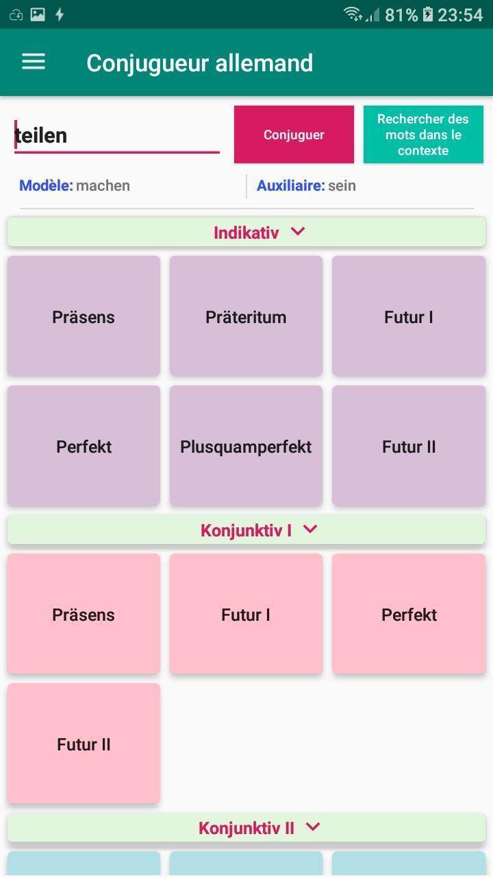 Conjugaison Verbe Allemand Conjugateur Traduction Pour Android Telechargez L Apk
