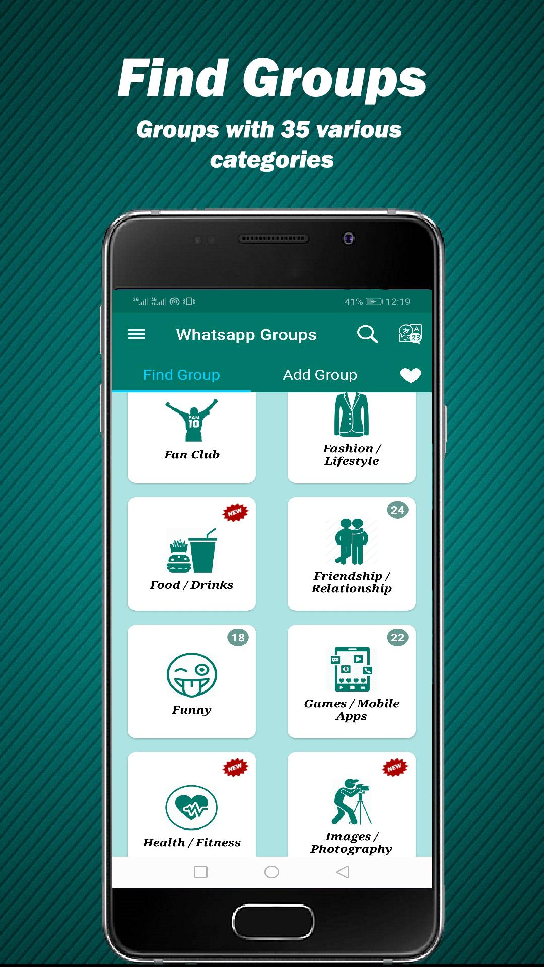 Groupzing :group links for whatsapp :meet people for Android