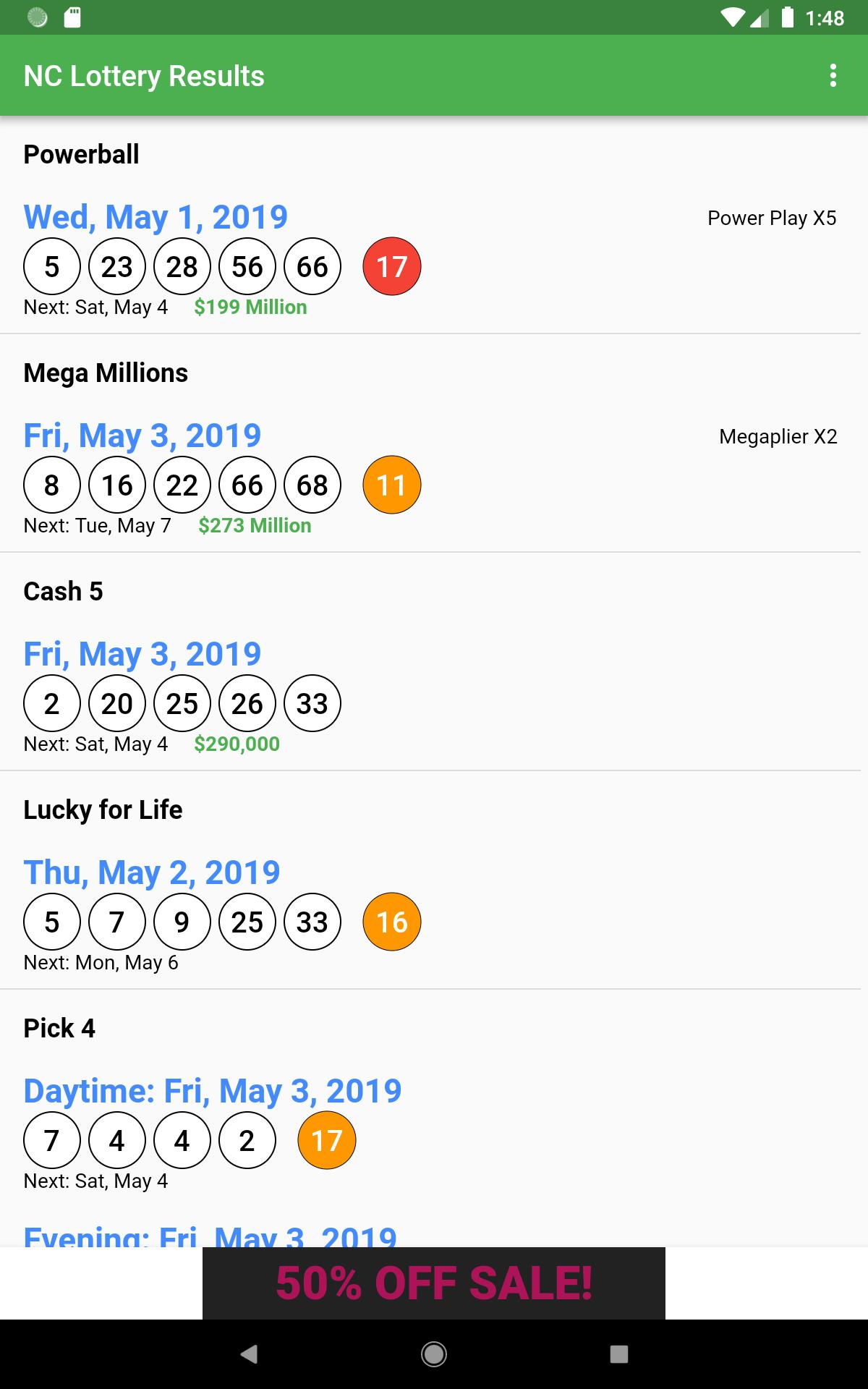 NC Lottery Results for Android - APK Download